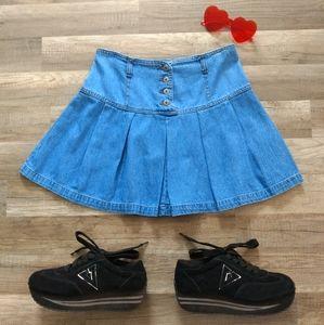 Vintage 90s 2000s Y2K Pleated Denim Mini Skirt